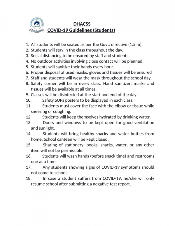 COVID-19 Guidelines for Students